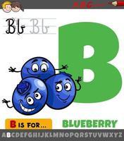 letter b uit alfabet met cartoon bosbessenvruchten vector