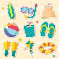 zomerstrand stickerpakket vector
