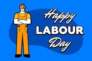 werknemer man in gele bouwhelm en inscriptie gelukkige dag van de arbeid. 1 mei wenskaart. vectorillustratie voor poster, banner, advertentie, promotie, flyer, blog, artikel, sociale media, marketing vector