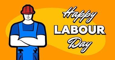 werknemer man in rode bouwhelm en inscriptie gelukkige dag van de arbeid. 1 mei wenskaart. vectorillustratie voor poster, banner, advertentie, promotie, flyer, blog, artikel, sociale media, marketing vector