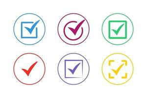 kleurrijke vinkje pictogramserie vector