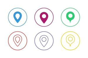 kleurrijke kaart aanwijzer pictogramserie vector