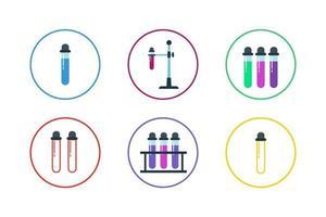 kleurrijke reageerbuis pictogramserie vector