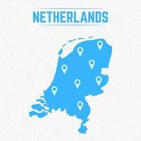 nederland eenvoudige kaart met kaartpictogrammen vector