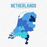 gedetailleerde kaart van nederland met staten vector