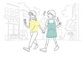 schattige meisjes eten snacks op straat. hand getrokken stijl vector ontwerp illustraties.