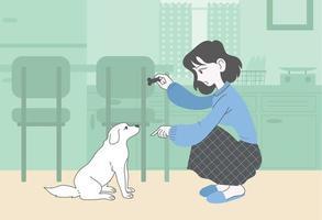 een meisje traint haar puppy voordat ze hem een snack geeft. hand getrokken stijl vector ontwerp illustraties.