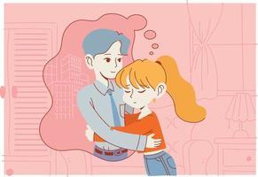 een meisje knuffelt haar denkbeeldige vriendje. hand getrokken stijl vector ontwerp illustraties.