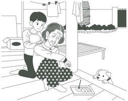 een jonge kleinzoon doet een massage op de schouder van een grootmoeder die op het platteland woont. hand getrokken stijl vector ontwerp illustraties.