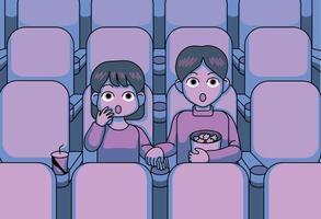 een leuk stel kijkt naar een enge film in de bioscoop. hand getrokken stijl vector ontwerp illustraties.