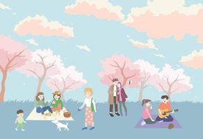 mensen gingen picknicken in het kersenbloesempark. hand getrokken stijl vector ontwerp illustraties.