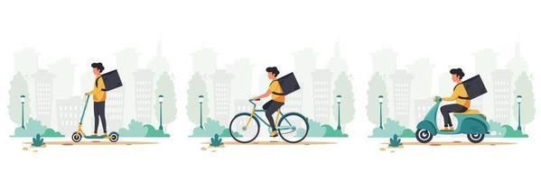 bezorgserviceconcept per scooter, fiets en elektrische scooterset vector