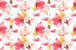 papavers aquarel naadloze patroon vector