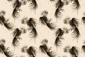 naadloze aquarel vechthaan geschilderd patroon vector