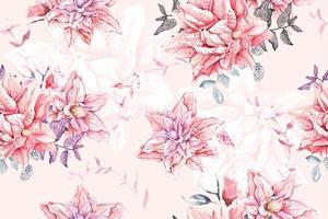 naadloze patroon van aquarel bloeiende bloemen vector