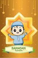 gelukkige kleine moslimjongen in ramadan kareem cartoon afbeelding vector