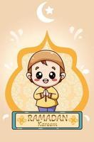 kleine gelukkige moslimjongen in ramadan kareem cartoon afbeelding vector