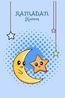 schattige maan en ster bij ramadan kareem cartoon afbeelding vector