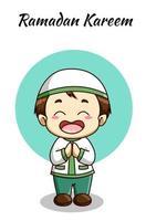 kleine moslimjongen bij ramadan kareem cartoon afbeelding vector