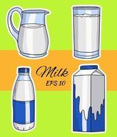 set van vectorillustraties in cartoon stijl van glazen flessen met melk. melk in een glas, een kan, in een kartonnen doos, in een fles. vector