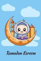 klein moslimmeisje met maan en moskee cartoon afbeelding vector
