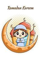 schattige moslimjongen met maan en moskee bij ramadan kareem cartoon afbeelding vector