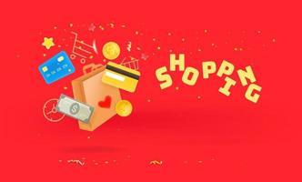 winkelen tijd concept. boodschappentas, creditcards en geld dat naar beneden valt. 3D-stijl schattige illustratie vector