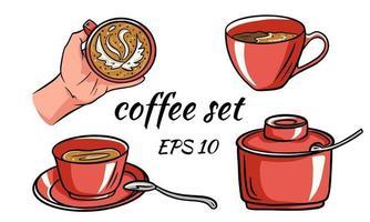 set van koffie. koffie in de hand. vector