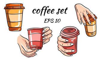 set van koffiekopjes. koffie in de hand. vector