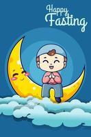schattige moslimjongen met schattige maan bij ramadan nacht cartoon afbeelding vector