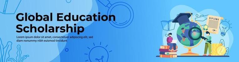 ontwerp van de banner van het web van wereldwijde onderwijsbeurs vector