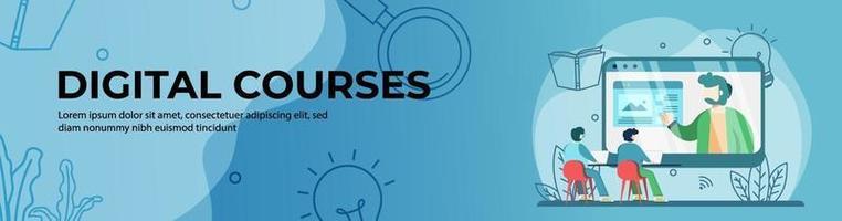 digitale cursussen webbannerontwerp. student die online cursussen bekijkt. online onderwijs, digitaal klaslokaal. e-learning concept. kop- of voettekstbanner. vector