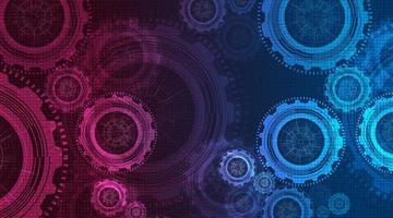 roze en blauw tandwielenwiel en haan op technologieachtergrond, vector