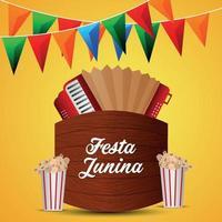 festa junina uitnodiging braziliaans evenement met creatief muziekinstrument vector