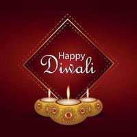 gelukkige diwali uitnodiging wenskaart diwali festival van licht met creatieve diwali diya vector
