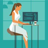 Vrouwelijke ontwikkelaar werkt aan haar bureau met laptop vector
