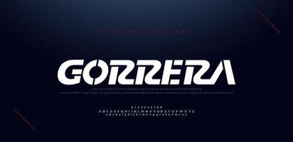 sport moderne cursieve alfabetlettertypen en nummer. typografie, abstracte technologie, mode, digitaal, toekomstig creatief logolettertype. vector