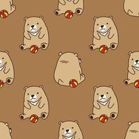 beer ijsbeer spelen bal naadloze patroon vector