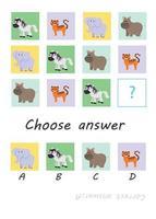 kies antwoord. safari dieren. kind spel vector