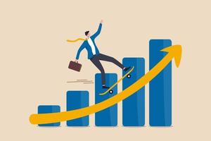 zakenman bedrijf leider rijden skateboard snel op stijgende winst grafiek diagram vector