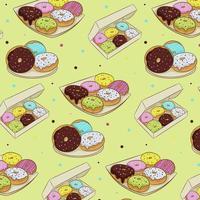 naadloze patroon van kleurrijke donuts in suikerglazuur, geïsoleerd op een witte achtergrond. vectorillustratie in cartoon vlakke stijl. vector