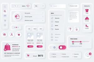 gebruikersinterface-elementen voor het winkelen app neumorfische ui-ontwerpsjabloon vector