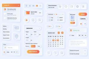 gebruikersinterface-elementen voor levering app neumorfisch ontwerp ui-elementen sjabloon vector