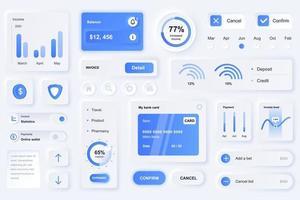 gebruikersinterface-elementen voor de neumorfische ontwerpsjabloon ui-elementen van de financiële app vector
