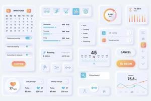 gebruikersinterface-elementen voor neumorfische ontwerpsjabloon ui-elementen voor fitness mobiele app vector