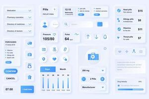 gebruikersinterface-elementen voor medische mobiele app neumorfische ontwerpsjabloon ui-elementen vector