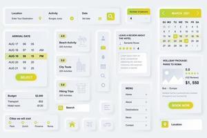 gebruikersinterface-elementen voor neumorfische ontwerpsjabloon ui-elementen van reisbureau mobiele app vector