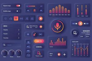 gebruikersinterface-elementen voor muziek mobiele app neumorfische ontwerpsjabloon ui-elementen vector