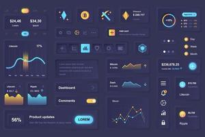 gebruikersinterface-elementen voor cryptocurrency mining mobiele app neumorfische ontwerpsjabloon ui-elementen vector