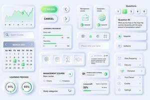 gebruikersinterface-elementen voor verre onderwijs mobiele app neumorfische ontwerpsjabloon ui-elementen vector